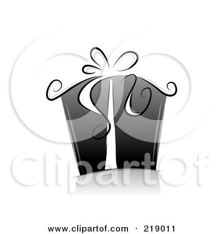 Royalty-Free (RF) Clipart Illustration of an Ornate Black And White Gift Box With Ribbons by BNP Design Studio