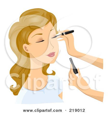 Royalty-Free (RF) Clipart Illustration of a Dirty Blond Woman Getting Eyeliner Applied by BNP Design Studio