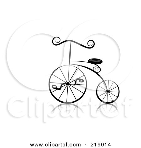 Royalty-Free (RF) Clipart Illustration of an Ornate Black And White Bicycle Design by BNP Design Studio