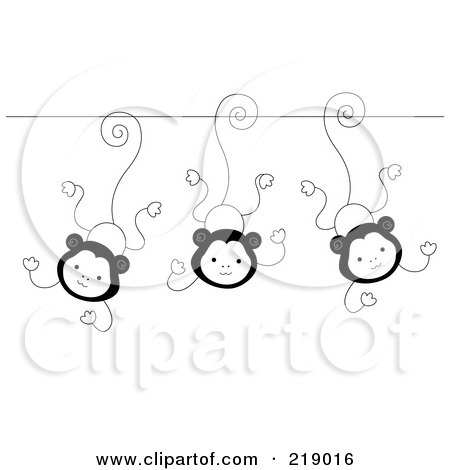 Royalty-Free (RF) Clipart Illustration of an Ornate Black And White Three Monkeys Design by BNP Design Studio