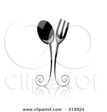 Royalty-Free (RF) Clipart Illustration of an Ornate Black And White Spoon And Fork Design by BNP Design Studio