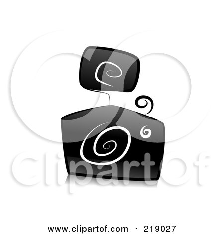 Royalty-Free (RF) Clipart Illustration of an Ornate Black And White Camera Design With Swirls by BNP Design Studio