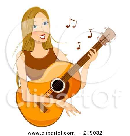 Royalty-Free (RF) Clipart Illustration of a Dirty Blond Woman Playing A Guitar by BNP Design Studio