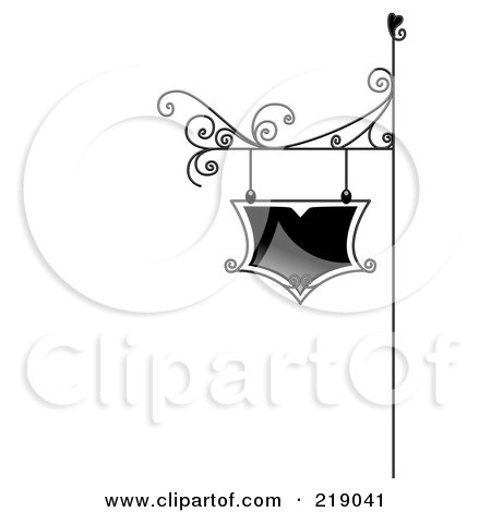 Royalty-Free (RF) Clipart Illustration of an Ornate Black And White Sign Board by BNP Design Studio
