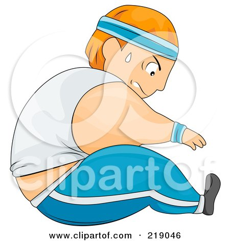 Royalty-Free (RF) Clipart Illustration of a Chubby Guy Doing Sit Ups by BNP Design Studio