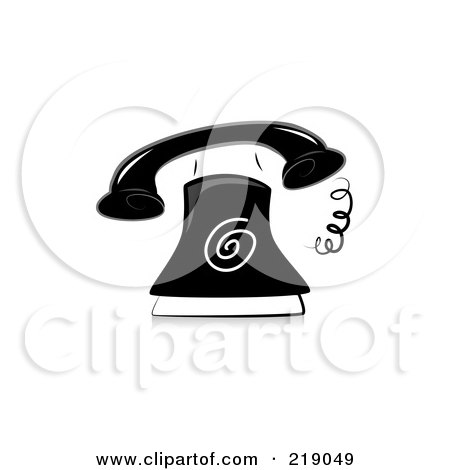 Royalty-Free (RF) Clipart Illustration of an Ornate Black And White Ringing Phone Design by BNP Design Studio