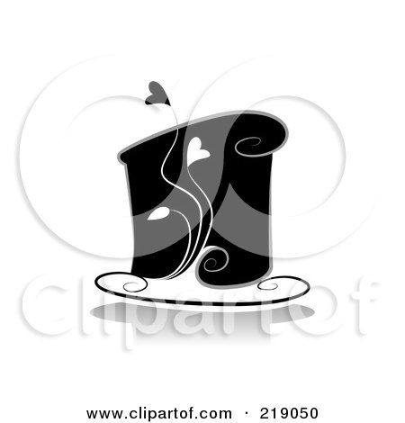 Royalty-Free (RF) Clipart Illustration of an Ornate Black And White Cake Design With Hearts by BNP Design Studio