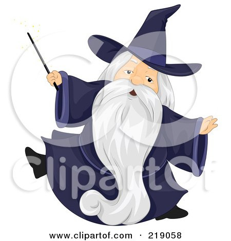 Royalty-Free (RF) Clipart Illustration of a Chubby Old Wizard In A Dark Blue Gown by BNP Design Studio