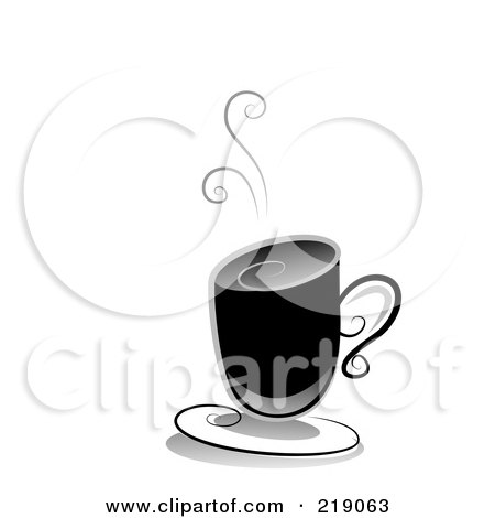 Royalty-Free (RF) Clipart Illustration of an Ornate Black And White Hot Coffee Design by BNP Design Studio