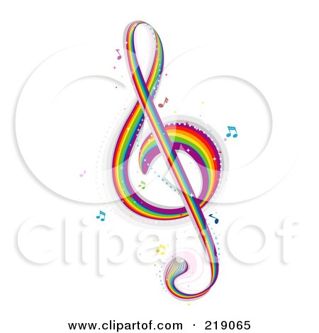 Royalty-free clipart picture of a rainbow G clef music note,