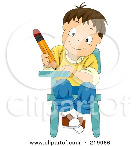 Royalty-Free (RF) Clipart Illustration of a Boy Writing And Sitting In His School Desk by BNP Design Studio