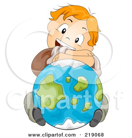Royalty-Free (RF) Clipart Illustration of a Red Haired School Boy Resting His Arms And Head On A Globe by BNP Design Studio