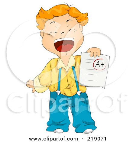 Royalty-Free (RF) Clipart Illustration of a Red Haired School Boy Holding An A Plus Report Card by BNP Design Studio