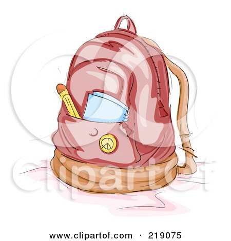 Royalty-Free (RF) Clipart Illustration of a Notebook And Pencil In A Backpack Pocket by BNP Design Studio