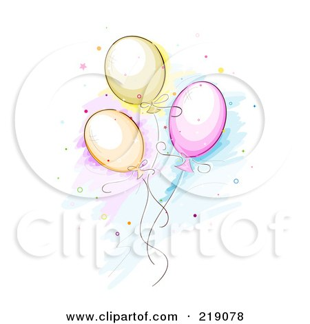 Royalty-Free (RF) Clipart Illustration of a Sketch Of Three Balloons And Confetti by BNP Design Studio