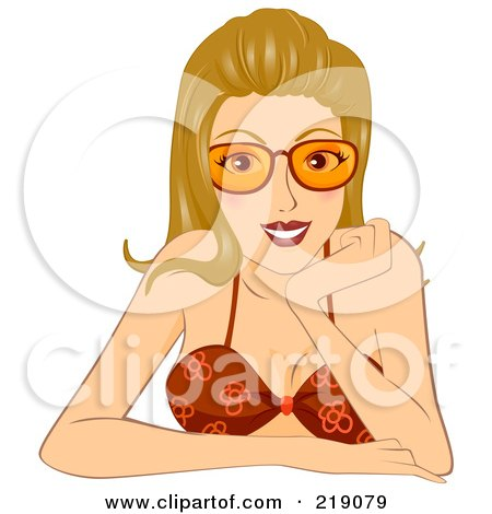Royalty-Free (RF) Clipart Illustration of a Dirty Blond Woman In Shades And A Red Bikini, Resting Her Face On Her Hand by BNP Design Studio