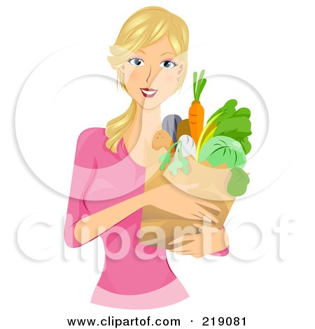 Royalty-Free (RF) Clipart Illustration of a Pretty Blond Woman Carrying A Grocery Bag by BNP Design Studio