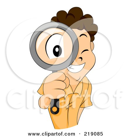 Royalty-Free (RF) Clipart Illustration of a Brunette Boy Looking Through A Magnifying Glass by BNP Design Studio