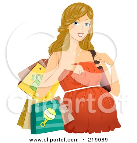 Royalty-free clipart picture of a pregnant dirty blond woman in a shopping