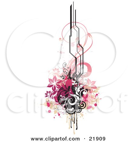 Design Element With Pink Flowers, Black Circles And Vines, Paint Splatters And Black Lines, Over White Posters, Art Prints
