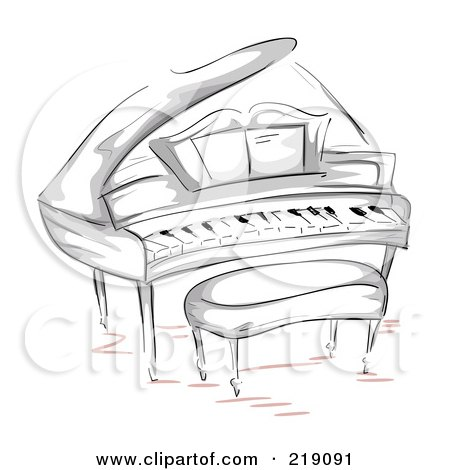Royalty-Free (RF) Clipart Illustration of a Sketch Of A Grand Piano And Bench by BNP Design Studio