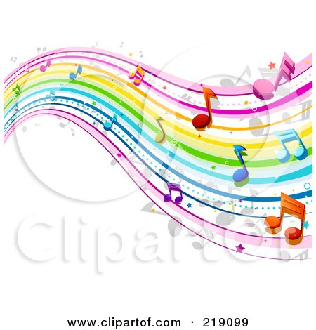 Royalty-Free (RF) Clipart Illustration of a Background Of Rainbow Music Waves by BNP Design Studio