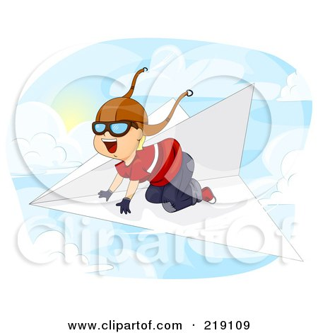 Royalty-Free (RF) Clipart Illustration of a Happy Boy Flying Above The Clouds On A Paper Plane by BNP Design Studio