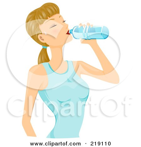 Royalty-Free (RF) Clipart Illustration of a Dirty Blond Woman Drinking From A Water Bottle by BNP Design Studio