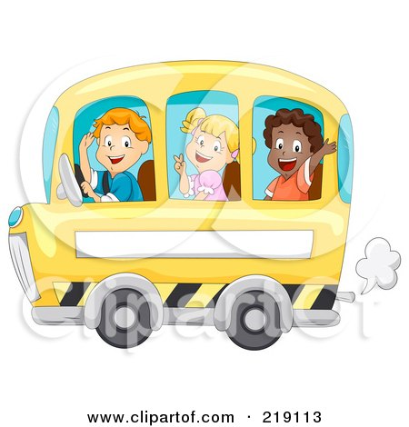 Royalty-Free (RF) Clipart Illustration of Three Happy Children Waving And Riding A School Bus by BNP Design Studio