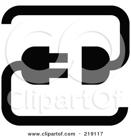 Royalty-Free (RF) Clipart Illustration of a Black Silhouette Cable Connection App Icon by AtStockIllustration