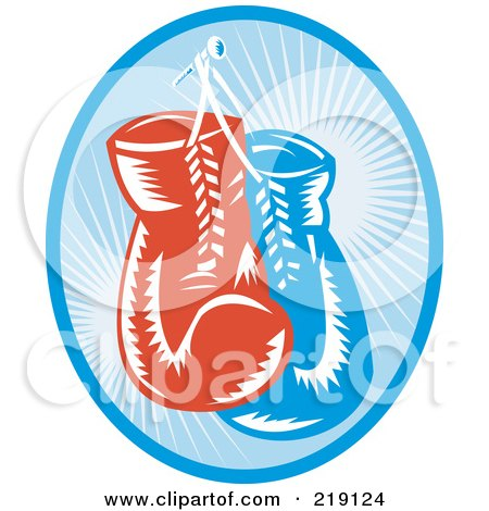 Royalty-Free (RF) Clipart Illustration of a Retro Blue And Red Boxing Gloves Logo by patrimonio