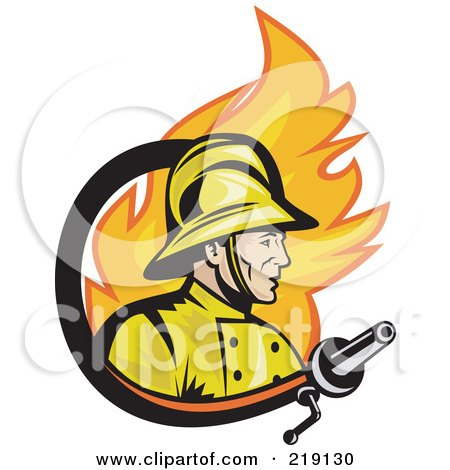Royalty-Free (RF) Clipart Illustration of a Retro Fireman, Fire And Hose Logo by patrimonio