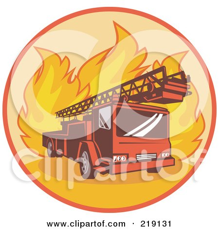 Royalty-Free (RF) Clipart Illustration of a Retro Fire Truck And Flames Logo by patrimonio