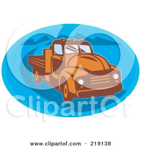 Royalty-Free (RF) Clipart Illustration of a Retro Orange And Blue Vintage Pickup Truck Logo by patrimonio