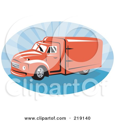 Royalty-Free (RF) Clipart Illustration of a Retro Red And Blue Delivery Van Logo by patrimonio