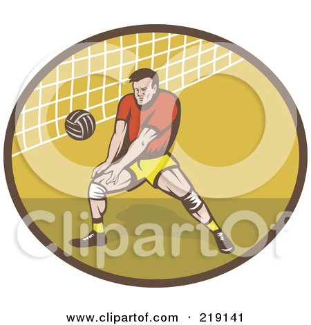 Royalty-Free (RF) Clipart Illustration of a Retro Male Volleyball Player Logo by patrimonio