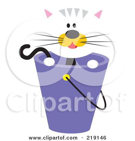 Royalty-Free (RF) Clipart Illustration of a Cute White Cat With Orange Cheeks, Looking Over A Purple Bucket by Venki Art