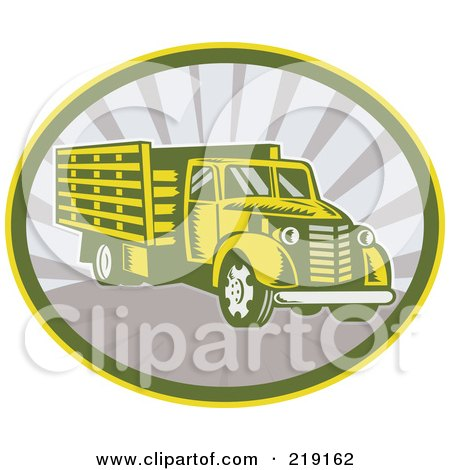 Royalty-Free (RF) Clipart Illustration of a Retro Lorry Logo by patrimonio