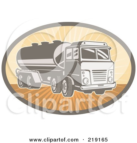 Royalty-Free (RF) Clipart Illustration of a Retro Orange And Brown Cement Truck Logo by patrimonio