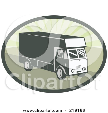 Royalty-Free (RF) Clipart Illustration of a Retro Green Delivery Van Logo by patrimonio