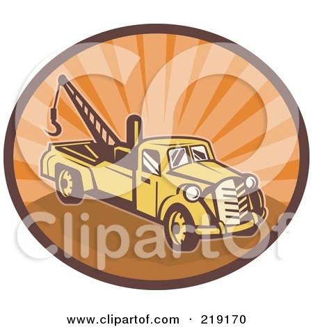 Royalty-Free (RF) Clipart Illustration of a Retro Yellow And Orange Tow Truck Logo by patrimonio