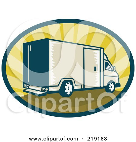 Royalty-Free (RF) Clipart Illustration of a Retro Tan And Green Delivery Van Logo by patrimonio