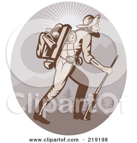 Royalty-Free (RF) Clipart Illustration of a Retro Miner Man Logo - 3 by patrimonio