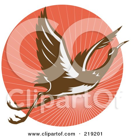 Royalty-Free (RF) Clipart Illustration of a Flying Heron Logo On A Red Circle by patrimonio