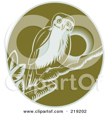 Royalty-Free (RF) Clipart Illustration of a Green And White Perched Owl Logo by patrimonio