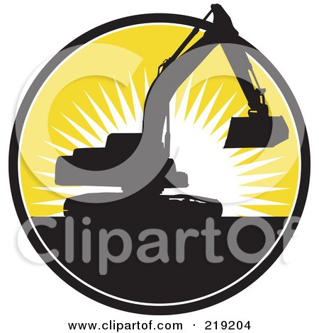 Royalty-Free (RF) Clipart Illustration of a Black And Yellow Excavator Logo by patrimonio