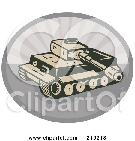 Royalty-Free (RF) Clipart Illustration of a Retro Tan And Gray Military Tank Logo by patrimonio