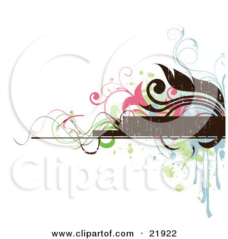 Clipart Picture Illustration of a Brown Text Box With Blue, Brown, Pink And Green Splatters, Flowers And Vines On A White Background by OnFocusMedia
