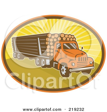Royalty-Free (RF) Clipart Illustration of a Retro Logging Truck Logo by patrimonio