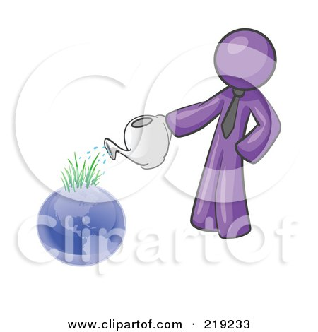 Clipart Illustration of a Purple Man Using A Watering Can To Water New Grass Growing On Planet Earth, Symbolizing Someone Caring For The Environment by Leo Blanchette